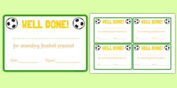 Football Attendance Reward Cards - football, attendance, reward, cards, sports