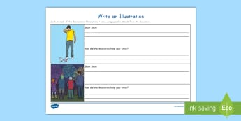 Write an Illustration Activity Sheet - Illustrations, Short story, writing, RL3.7, picture stimulus, work on writing, fiction, worksheet