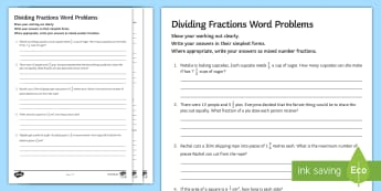 Dividing Fractions Word Problems Activity Sheet - Mixed Number Improper Simplify Simplest Word worksheet Questions Numerator Denominator Division Divi