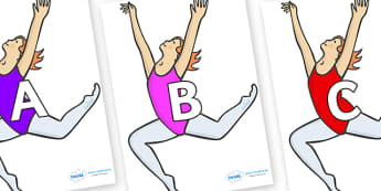 A-Z Alphabet on Ballet Dancers - A-Z, A4, display, Alphabet frieze, Display letters, Letter posters, A-Z letters, Alphabet flashcards