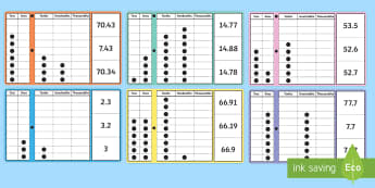 KS2 Place Value (Decimals) Peg Board Activity - matching, reasoning, 1 digit numbers, 2 digit numbers, 1 decimal place, 2 decimal places, 3 decimal