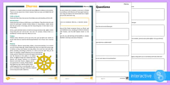 Dharma Differentiated Reading Comprehension Go Respond Activity Sheets - dharma, Hindu, Hinduism, beliefs, RE, religion.
