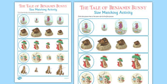 Beatrix Potter - The Tale of Benjamin Bunny Size Matching Work Sheets - beatrix potter, benjamin bunny