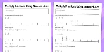 Year 6 Multiply Fractions Using Number Lines Activity Sheet - uks2, ks2, progress, assessment, numbers, times, maths, numeracy, worksheet
