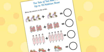 The Tale of Two Bad Mice Up to 10 Addition Sheet - two bad mice