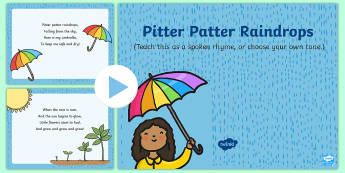 Pitter Patter Raindrops Song PowerPoint - EYFS, Early Years, Key Stage 1, KS1, spring, seasons, weather, rain, April showers, rainbow, songs,