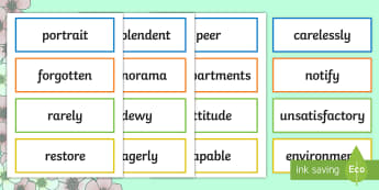Year 3 Spring 2 Word of the Day Display Word Cards - Vocabulary, Spelling, nouns, adjectives, adverbs, verbs, multisyllabic words.