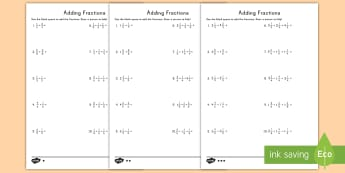 Adding Fractions with Like Denominators Differentiated Activity Sheets - composing fractions, decomposing fractions, adding fractions, like denominators, mixed numbers