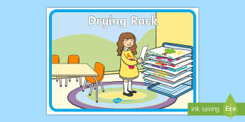 Drying Rack Display Sign - painting area, drying area, classroom signs, art, paint,