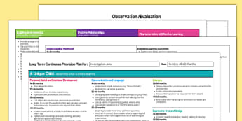 EYFS Investigation Area Editable Continuous Provision Plan 16-26 to 40-60 Months