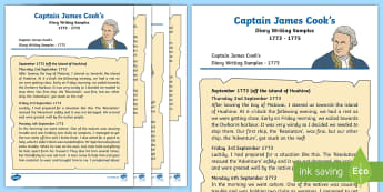 Year 2 Captain Cook's Diary Writing Sample - KS1, year 2, diary writing sample, Captain Cook, Australia, adventurer, explorer, sailor, extract, f