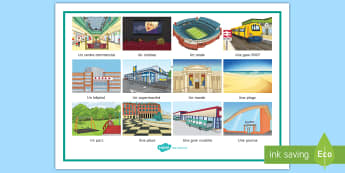 Places in Town Word Mat French - KS3, French, Home, Town, places, endroits, centre commercial, cinéma, stade, gare, routière,superm