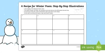 KS2 A Recipe for Winter Illustrations Activity Sheet - christmas, poem, poetry, alliteration, instructions, Activity sheet, worksheet