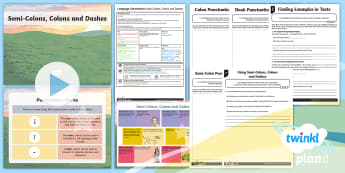 PlanIt Y6 Language Conventions:Semi-Colons, Colons and Dashes Lesson Pack - ACELA1521, text structure, writing, creating text, year , ACELA1714,Australia