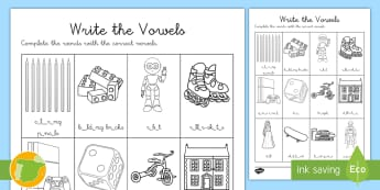 Ficha de actividad: Escribe las vocales - Inglés  - toys, vowels, lengua extranjera, english, inglés,Spanish-translation