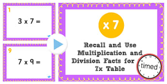 Multiplication Division Facts for 7 Times Table PowerPoint Test