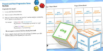 Present and Past Progressive Tense Dice Game - tense, game, dice