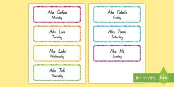 Days of the Week in Tokelau Display Labels - days of the week, tokelau, tokelauan, tokelau language week, labels