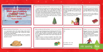 Addition and Subtraction Multistep Word Problems Christmas Maths Challenge Cards English/Spanish - Christmas Maths, KS2, Year 5, Y5, Year 6, Y6, multistep, word problems, EAL