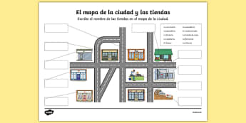 Shops in Town Map Worksheet / Activity Sheet Spanish, worksheet