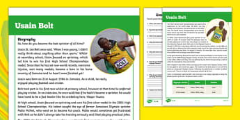 Usain Bolt Biography Differentiated Reading Comprehension Activity