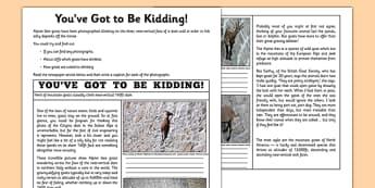 You've Got to Be Kidding Me! Newspaper Article Activity Sheet - goat, dam, walk, newspaper, worksheet