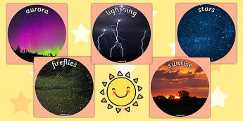 Natural Light Sources Display Photo Cut Outs - light, science
