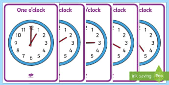 Analogue Clocks - Hourly O' Clock - Time resource, Time vocaulary, clock face, O'clock, half past, quarter past, quarter to, shapes spaces measures, numeracy, time, clocks