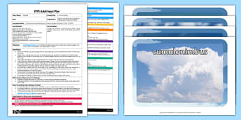 EYFS It's in the Clouds Adult Input Plan and Resource Pack - EYFS, Early Years planning, adult led, weather, seasons, EAD, Expressive Arts and Design, cloudy days