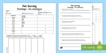 Pets Survey Tally and Pictogram Activity Sheet English/French - Pets Survey Tally and Pictogram Activity Sheets - pets survey, tally chart, pictogram, pets survey w