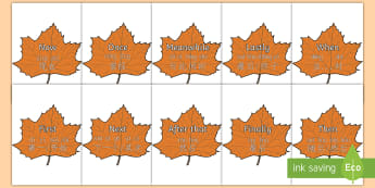Time Conjunctions on Autumn Leaves Poster English/Mandarin Chinese/Pinyin - Time Conjunctions on Autumn Leaves - time connectives, autumn, autmn, autunm, atumn, conectives, aun