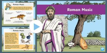 History Hackers: Roman Rescue Roman Music PowerPoint - instruments, romans, empire, history, originals, fiction, sounds, society, ceremony