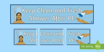 Shower After PE Banner - shower, hygeine, hygiene, sen, routine, clean, fresh