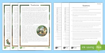 Pocahontas Reading Comprehension Activity - Indigenous Peoples Day, Pocahontas, Native Americans, First Nations, First Cultures,