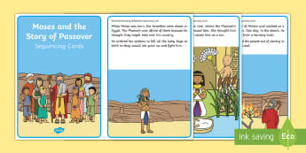 Moses and the Story of Passover Sequencing Cards - Judaism, Christianity, bible, story, biblical