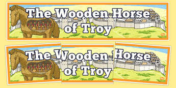 The Wooden Horse of Troy Display Banner - the wooden horst of troy, trojan horse, display banner, display, banner