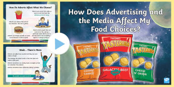 How Does Advertising and the Media Affect My Food Choices PowerPoint - HWB, Food, Consumer, HWB 1-37a, advertising, media, influence, pressure, choices, health