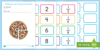 Dividing by Unit Fractions Activity - division, fractions, unit fractions, whole number, game, activity