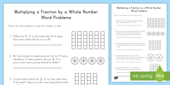 Multiplying Fractions by Whole Numbers Word Problems with Models Worksheet / Activity Sheet - multiplication, repeated addition, fractions, whole numbers, models, improper fractions, mixed numbe