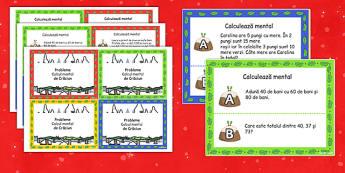 Sărbătoarea Crăciunului - Cartonașe cu probleme de calcul mintal