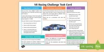 Year 4 V8 Racing Challenge Activity Sheet - Australian Sporting Events Maths, ACMSP096, ACMNA073, ACMSP094, ACMMG085, ACMNA082, year 4 maths, da
