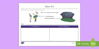 Idiom Art Activity - Idiom, Figurative Language, Language, RL3.4, R.L.3.4