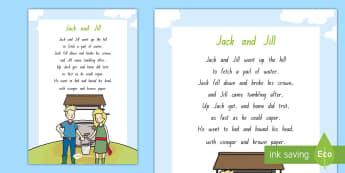 Jack and Jill Display Poster - NZ Literacy Resources, nursery rhymes, Years 1-3, New Zealand, Aotearoa, poetry, rhyme, rhythm