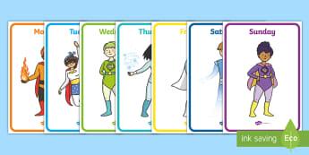 Superheroes Days of the Week Display Posters - Days of the Week on Sea King - superheros, Days of the Week, Weeks poster, week, display, poster, fr