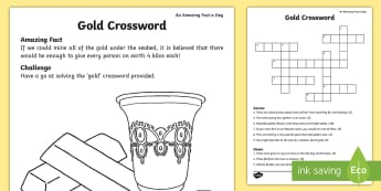 Gold Crossword - Amazing Fact Of The Day, activity sheets, powerpoint, starter, morning activity, February, things th