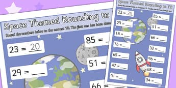 Space Themed Rounding To 10 Worksheets - space, worksheets, 10