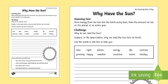 Why Have the Sun? Activity Sheet - Amazing Fact Of The Day, activity sheets, powerpoint, starter, morning activity, February, sun, plan