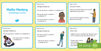 Year 5, Multiplication and Division, Multiples and Factors Maths Mastery Challenge Cards - Year 5 Maths Mastery Activities, multiplication, division, multiples, factors, lowest common multipl