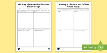 The Story of Diarmuid and Gráinne Picture Design Activity Sheet - Myths, Legends, Irish Tales, Celtic, The Fianna, Irish, Worksheet, Folk Tales