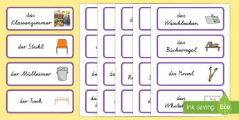 Classroom Word Cards German - german, classroom, word cards, word, cards